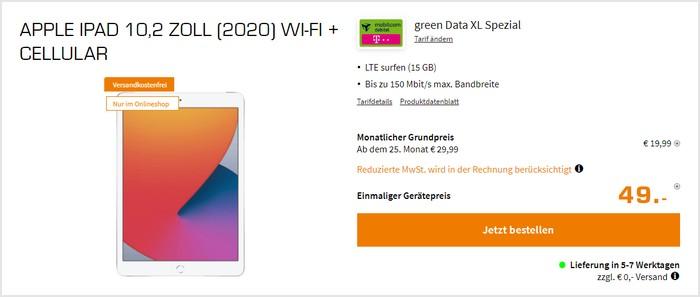 iPad (2020) LTE + mobilcom-debitel green Data XL (Telekom-Netz9 bei Saturn