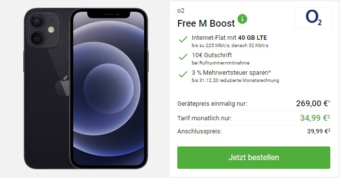 iPhone 12 mini + o2 Free M Boost bei DeinHandy