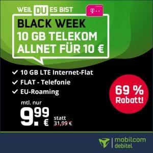 mobilcom-debitel green LTE Telekom-Netz, 10 GB LTE + Allnet-Flat mit 9,99 € Grundgebühr