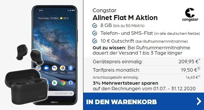 Nokia 8.3 5G + Nokia Power Earbuds + congstar Allnet Flat M bei Preisboerse24