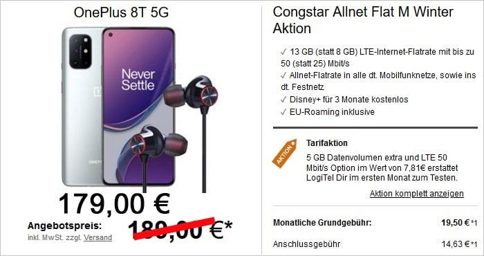 OnePlus 8T + OnePlus Bullets Wireless 2 + congstar Allnet Flat M bei LogiTel