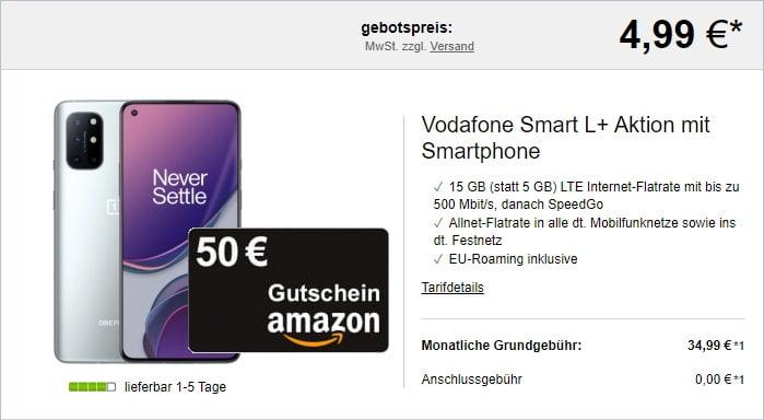 OnePlus 8T + 50 € Amazon-Gutschein + Vodafone Smart L Plus bei LogiTel