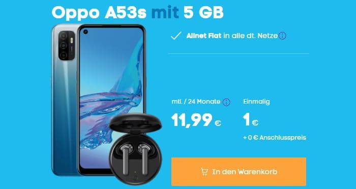 Oppo A53s mit In-Ears zum Blau Allnet L bei Blau