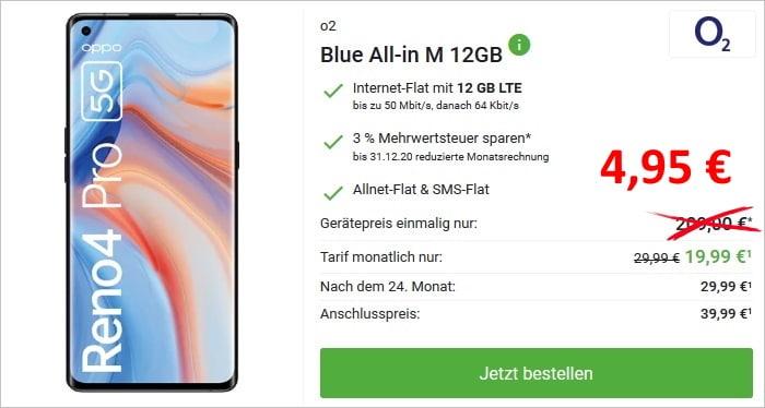 Oppo Reno4 Pro 5G mit o2 Blue All In M 12 GB bei DeinHandy