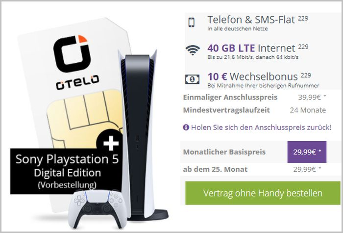 otelo Allnet Flat Max + Sony PlayStation 5 Digital Edition bei FLYmobile