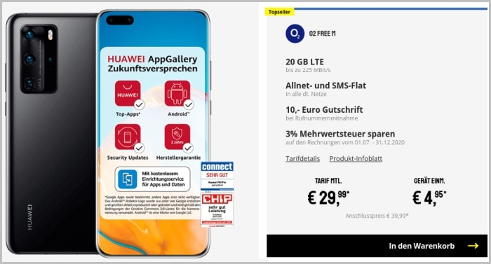 Huawei P40 Pro mit Vertrag o2 Free M bei Sparhandy