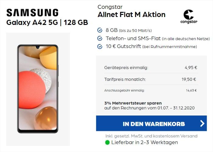 Galaxy A42 5G + congstar Allnet Flat M