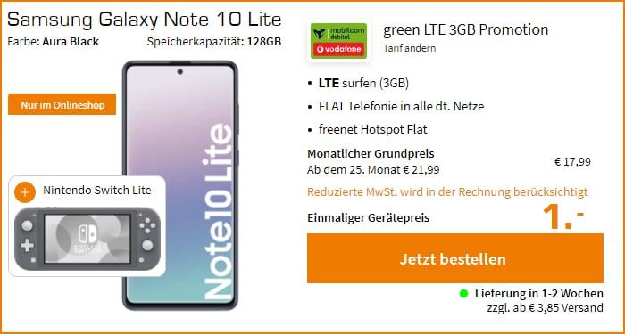 Samsung Galaxy Note10 Lite mit md green LTE 3 GB im Vodafone-Netz + Nintendo Switch Lite bei MediaMarkt