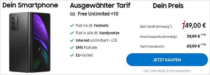 Samsung Galaxy Z Fold2 5G mit o2 Free Unlimited im Samsung Shop