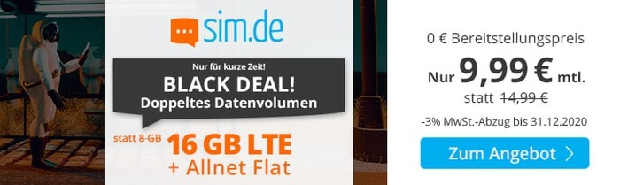 sim.de LTE All 8 GB Aktion Black Friday 2020