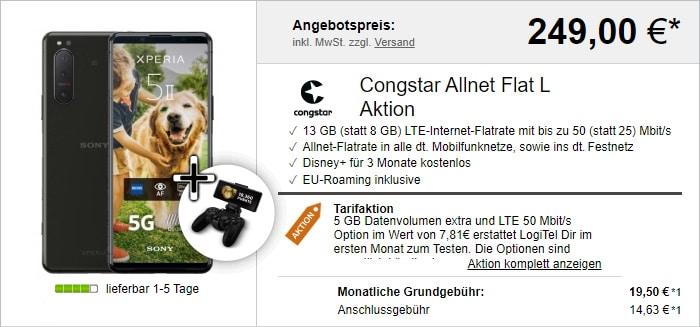 Sony Xperia 5 II 5G mit congstar Allnet Flat M und Bonus-Bundle bei LogiTel