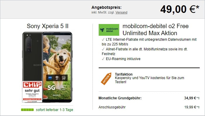 Sony Xperia 5 II zum mobilcom-debitel Telefónica Free Unlimited Max bei LogiTel
