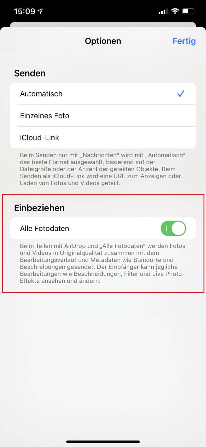 Tipps iPhone - Foto-Daten nicht teilen - Teilen-Optionen