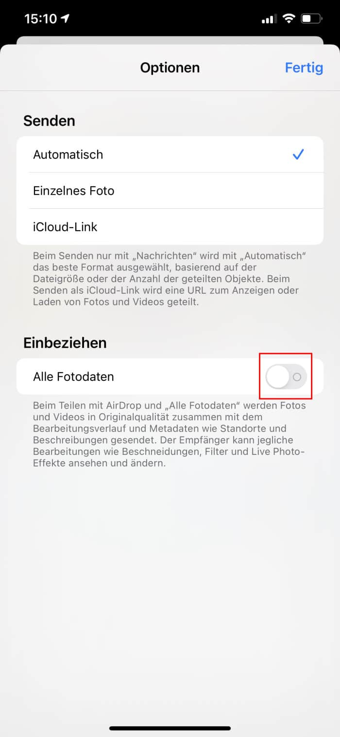 Tipps iPhone - Foto-Daten nicht teilen - Schalter aus