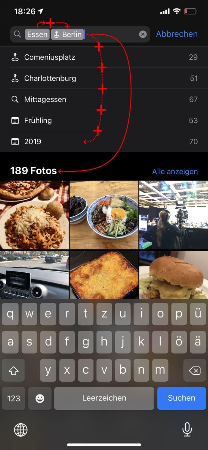 Tipps iPhone - Fotosuche - Suchwörter kombinieren