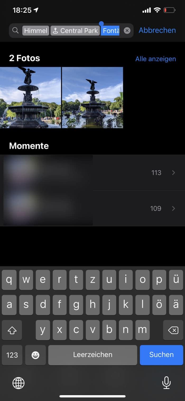 Tipps iPhone - Fotosuche - Ergebnis