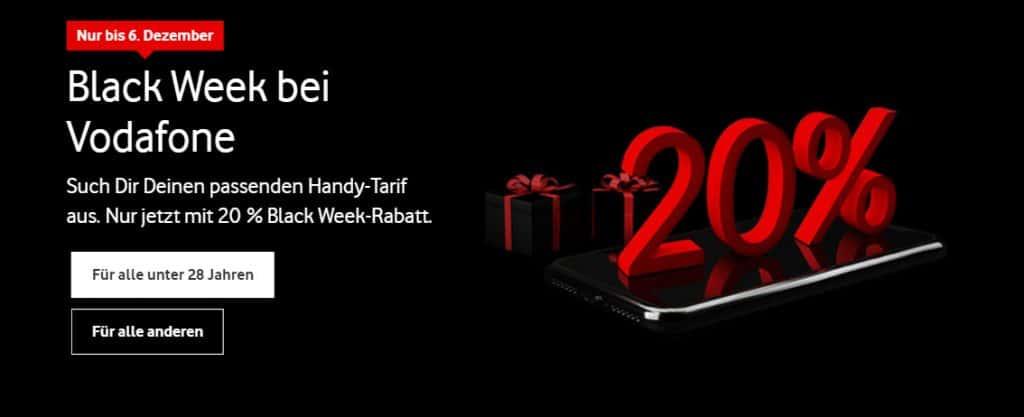 Vodafone Black Week: Tarif-Schnäppchen bis zum 06.12.2020 - 20% Rabatt auf Red-Tarife, z.B. mit iPhone-12-Serie