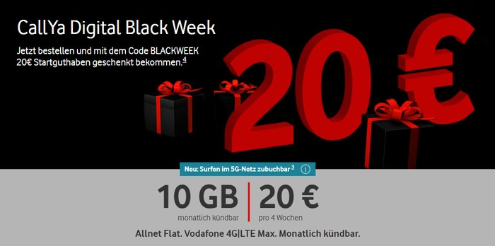 Vodafone CallYa Digital Aktion Black Week 2020