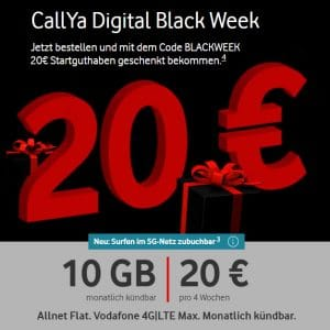 Vodafone CallYa Digital Aktion Black Week 2020 Thumbnail