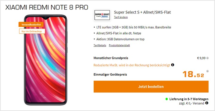 Xiaomi Redmi Note 8 Pro + Super Select S bei Saturn