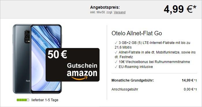 Xiaomi Redmi Note 9 Pro 50 € Amazon-Gutschein + otelo Allnet-Flat Go bei LogiTel