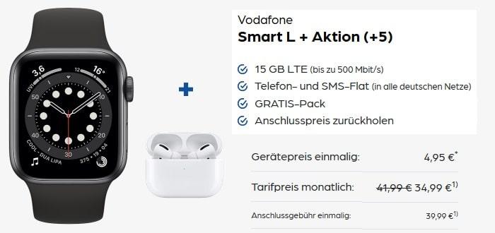 Apple Watch Series 6 + Apple AirPods Pro zum Vodafone Smart L Plus bei Preisboerse24