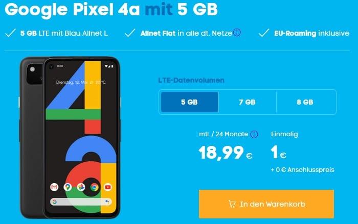 Google Pixel 4a mit Blau Allnet L 5 GB LTE bei Blau