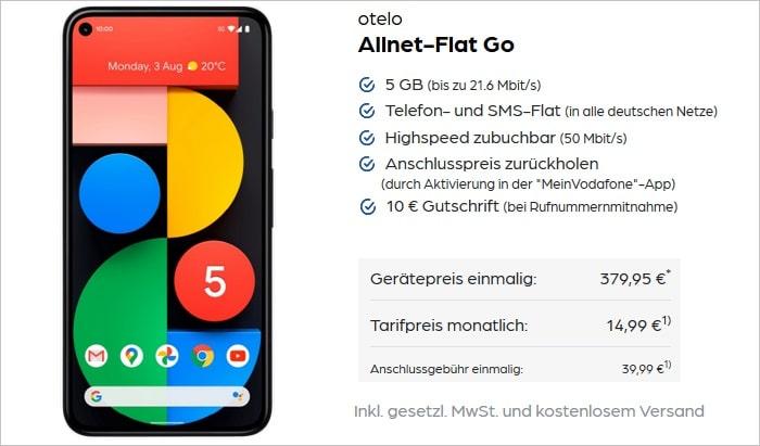 Google Pixel 5 mit otelo Allnet-Flat Go bei Preisboerse24