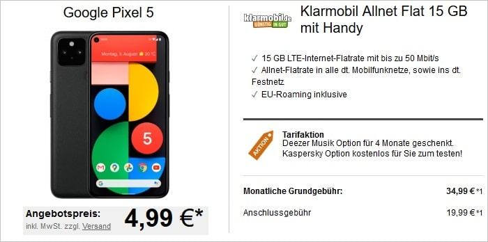Google Pixel 5 zur klarmobil Allnet-Flat 15 GB LTE bei LogiTel