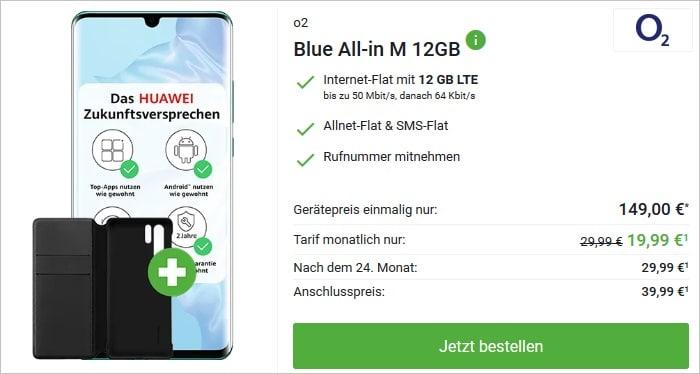 Huawei P30 Pro New Edition mit Cover zum o2 Blue All-in M 12 GB bei DeinHandy