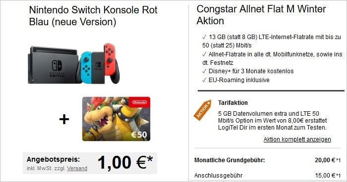 Nintendo Switch mit 50 € Gutschein zur constar Allnet Flat M bei LogiTel
