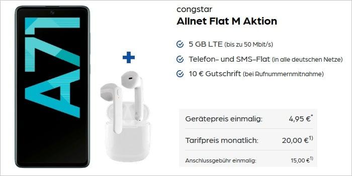 Samsung Galaxy A71 mit SkyPods Lite zur congstar Allnet Flat M Aktion bei Preisboerse24
