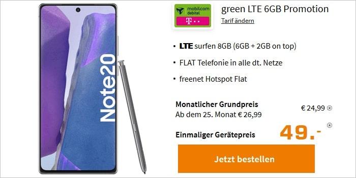 Samsung Galaxy Note20 mit green LTE 6+2 GB im Telekom-Netz bei Saturn