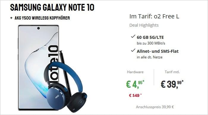 Samsung Galaxy Note 10 mit AKG Headset zum o2 Free L bei Sparhandy
