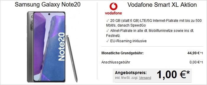 Samsung Galaxy Note 20 zum Vodafone Smart XL mit 20 GB bei LogiTel