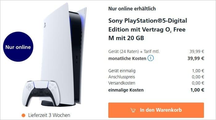 Sony Playstation 5 Digital Edition mit o2 Free M im o2 Shop