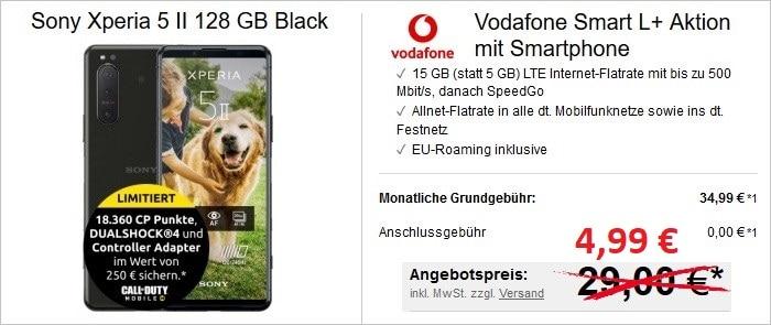 Sony Xperia 5 II mit Zugaben Aktion zum Vodafone Smart L Plus bei LogiTel