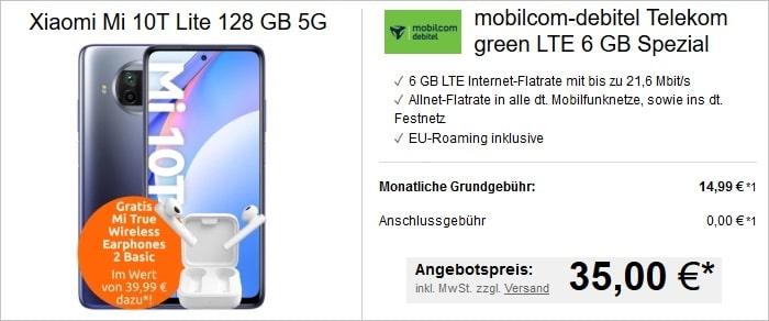 Xiaomi Mi 10T Lite mit In Ears zum md green LTE 6 GB im Telekom-Netz bei LogiTel