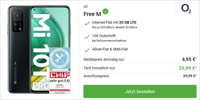 Xiaomi Mi 10T Pro mit o2 Free M bei DeinHandy