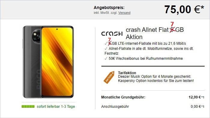 Xiaomi Poco X3 NFC + crash Allnet Flat 7 GB (Vodafone-Netz) bei LogiTel