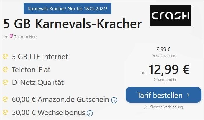 crash Allnet Flat 5 GB Karnevals Kracher bei TARIFFUXX
