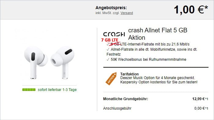crash Allnet Flat + Apple AirPods Pro bei LogiTel