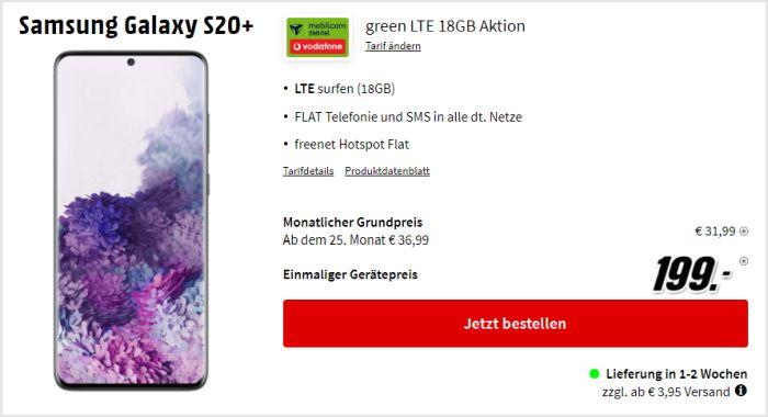 Samsung Galaxy S20 Plus + mobilcom-debitel green LTE (Vodafone-Netz) bei MediaMarkt