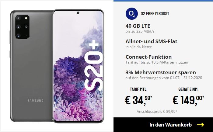 Samsung Galaxy S20 Plus + o2 Free M Boost bei Sparhandy