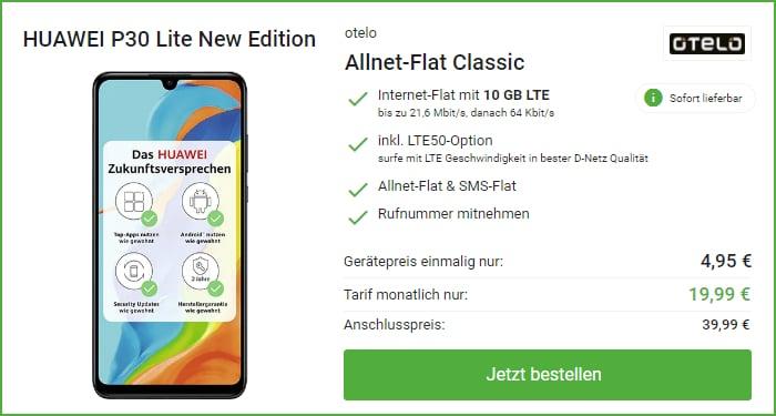 Huawei P30 Lite (New Edition) + otelo Allnet Flat Classic bei DeinHandy