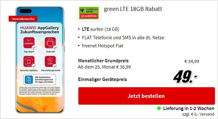 Huawei P40 Pro mit green LTE Tarif im Vodafone-Netz bei MediaMarkt