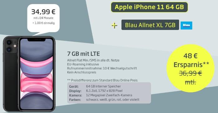 iPhone 11 und Blau LTE bei Curved