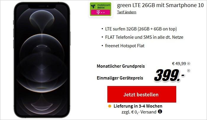iPhone 12 Pro mit md green LTE 26+6 GB im Telekom-Netz bei MediaMarkt