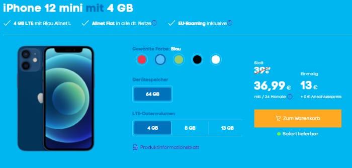 iPhone 12 mini Blau.de Allnet L