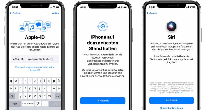 iPhone einrichten - Apple ID, Aktualisierung, Siri